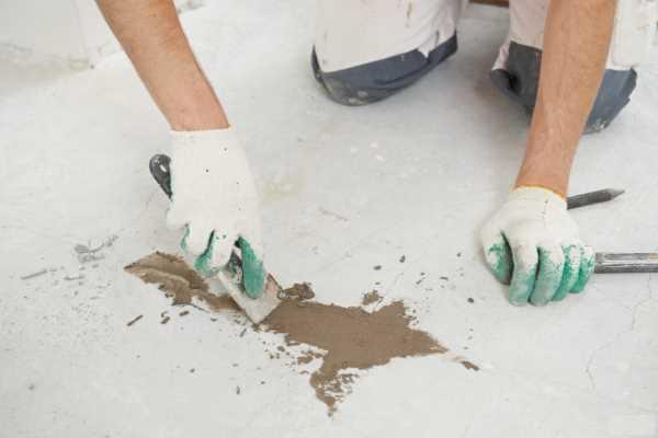 Выравнивание наливного пола ремонтным составом