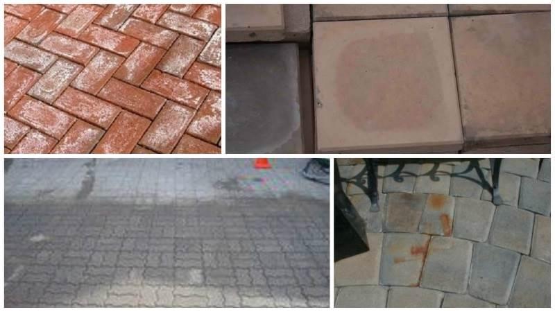 Загрязнения тротуарной плитки