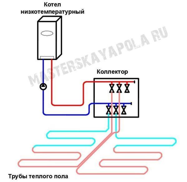 Схема теплого пола без смесительного узла