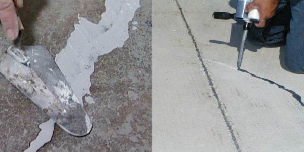Заполнение трещины ремонтной смесью