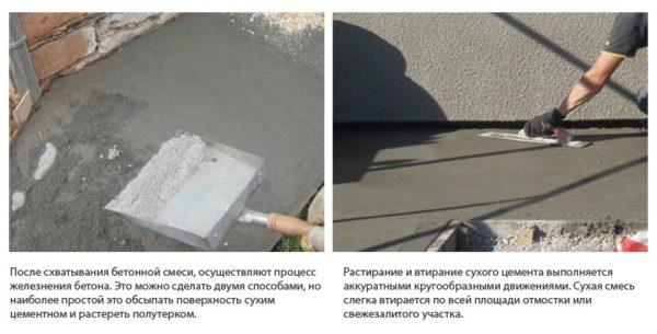Железнение сухим цементом