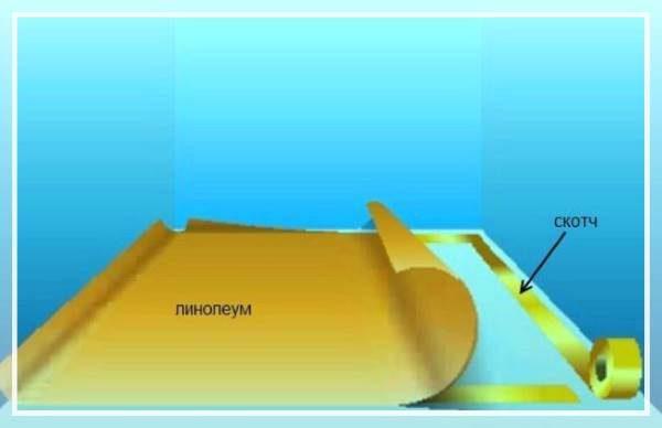 Укладка линолеума с использованием двустороннего скотча