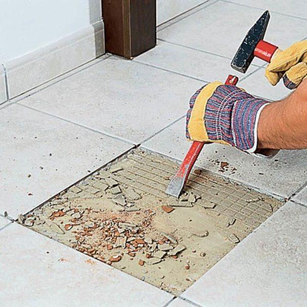 Удаление слабо зафиксированных плиток