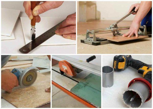 Резка плитки различными инструментами