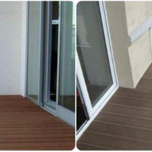 Закрытый балкон, облицованный террасной доской