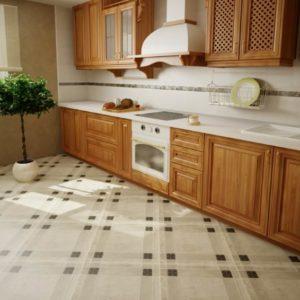 Диагонально уложенная плитка на кухне