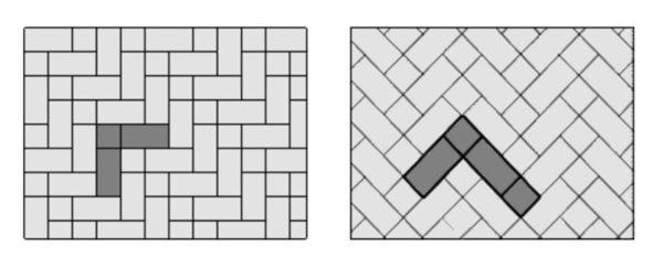 Схемы прямой и ромбовидной укладки модульной плитки