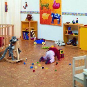 Пробковый пол в детской классический