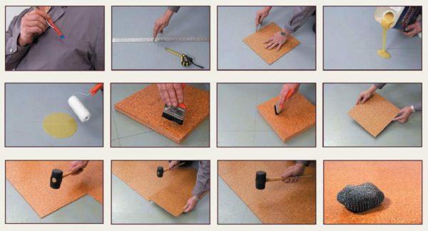 Укладка самоклеящейся пробковой плитки