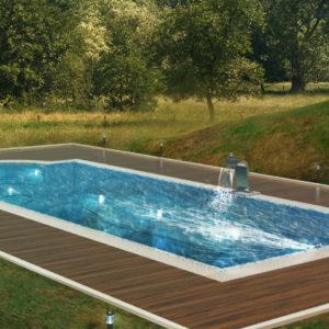 Бассейн и лакированная террасная доска – идеальное сочетание