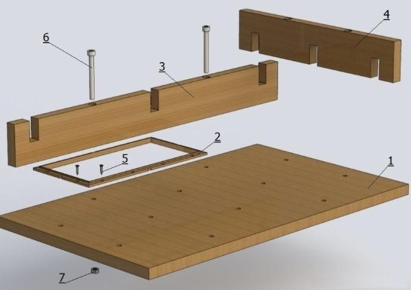 Разборная конструкция с пазово-болтовыми соединениями