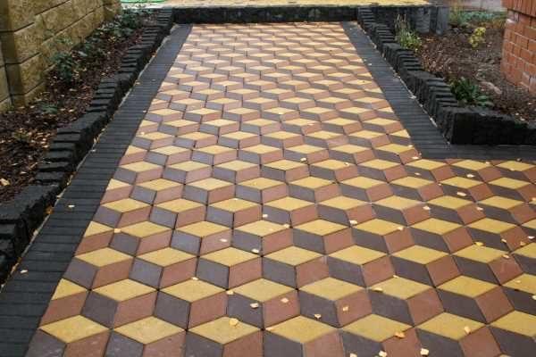 Создание объемной картинки тротуарной плиткой Ромб