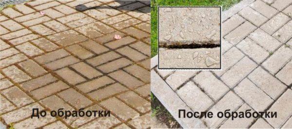 Обработка тротуарной плитки гидрофобизатором