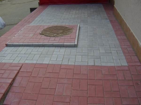 Блочная раскладка тротуарной плитки Кирпич
