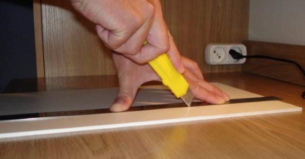Нанесение риски ножом