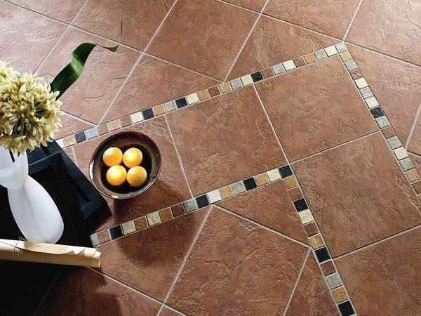 Диагональная укладка плитки с использованием декоров