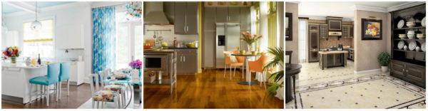 Кухни, облицованные разными напольными материалами