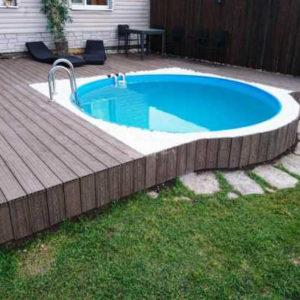 Круглый бассейн, строенный в террасу